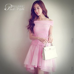 Pink Doll®Women's Bateau Casual Striped T-shirt