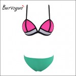 Burvogue Women Push Up Triangl Bright Diving Suit Mesh Bandage Bikini Australia Set Swimsuit Australia Swimwear