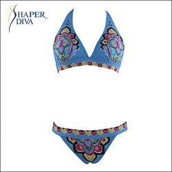 Shaperdiva Women's Floral Paisley swimwear Push Up Padded Bikini Australia Top Bikini Australia Set