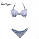Burvogue Women's Sexy Push Up Silver Grey Bikinis Australia Set