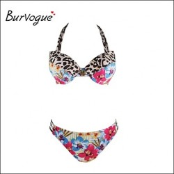 Burvogue Women's Sexy Push Up Flower Leopard Padded Bathing Brazilian Swimwear