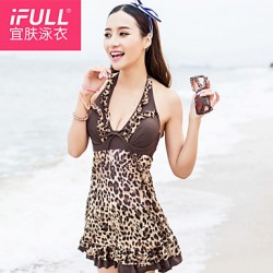 Fashion sexy beautiful woman Leopard Dress swimsuit
