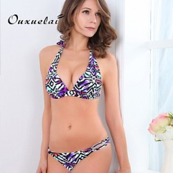 OUXL®Women Wireless Padded Bras Color Block Tassels Floral Animal Bandage Bandeau Bikinis Australia Nylon Polyester