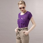 Women's Color Block Brown/Orange/Purple T-shirt , Crew Neck Short Sleeve
