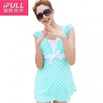 Lovely woman polka dot dress style bathing suit
