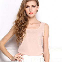 Women's Sleeveless Chiffon Vest Candy Color Chiffon Unlined Upper Garment
