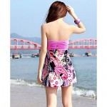 Women's Halter Floral/Cross Others/Polyester Brown/Pink