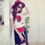Pink Doll®Women Round Neck Casual Cute Short Sleeve Short Blouse