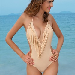 Sexy Bikini Australia One Piece Swimwear Australia For Women Fringe Tassel Swimsuit Australia Black/ White/ Beige Bathing Suit S752