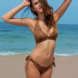 Sexy Bikini Australia Leopard Bandage Halter Swimwear Australia For Women Padded Bathing Suit V1
