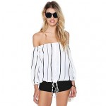 2019 Summer New Arrival Women Shirt Half Sleeve Off-shoulder Chiffon Cropped Tops Striped Sexy Blouses