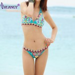 Women Push Up Underwire Bra High Rise Color Block Floral Dot Bandage Halter Bikinis Australia Nylon Spandex