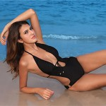 Sexy Women's One Piece Swimwear Australia Halter Padded Black Swimsuit Australia One Size 206