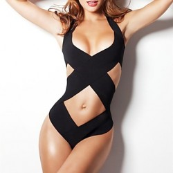 Women's Black Halter/Bandeau One-pieces, Solid/Cross Push-up/Racerback