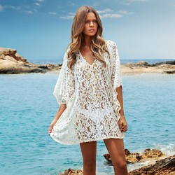 Women's White Lace Hollow Crochet Bikini Australia Dress