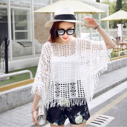 Hollow Out Top Knitted Shirt Tassel Short Sleeve Loose Crew Neck Contton Bat Bikini Beach Cover Up Women