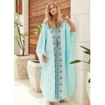 Embroidered Loose Plus Size Long Robe Beach Sun Protective Bikini Beach Cover Up Holiday Long Dress Women