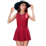 One Piece Swimsuits For Big Girls Plus Size Swimwear Women Steel Ring Swimsuits Pure Colour Tulle