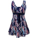 Swimsuits For Big Girls Plus Size Printing Dress Boxer One Piece Swimwear Women Swimsuits