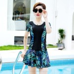 Swimsuits For Big Girls Plus Size Swimwear Two Piece Dress Printing Boxer Women Swimsuits