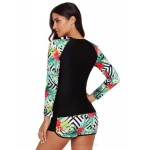 Printing Sport Women Surf Suit Quick Drying Long Sleeves Swimwear