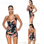 Classical Printing Lace Up One Piece Swimwear