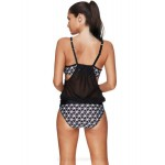 Personality Printing Tulle Breathable Sport Two Piece Swimwear