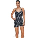 Classical Dots Lace Up Quick Drying One Piece Swimwear