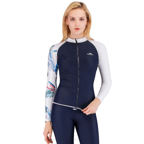 Diving Suit Womens Two Piece Swimwear Womens Quick Drying Long Sleeves Sun Protective Surf Suit Dive Skin