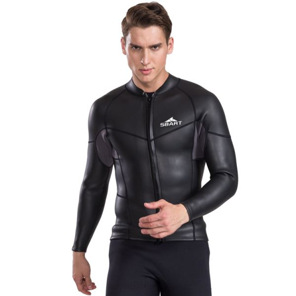 2Mm Two Piece Wetsuit Man Long Sleeves Snorkeling Suit Surfing Cold Proof Top Warm Winter Swimming Dive Skin