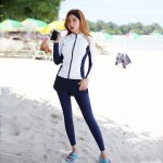 Diving Suit Womens Two Piece Sun Protective Long Sleeves Skinny Quick Drying Dive Skin Surf Suit