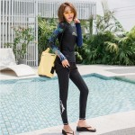Diving Suit Womens Long Sleeves Sun Protective Quick Drying Dive Skin Two Piece Snorkeling Suit Surf Suit