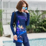 Diving Suit Womens Long Sleeves Sun Protective Dive Skin Two Piece Snorkeling Suit Surf Suit Quick Drying Clothes
