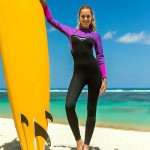 Womens One Piece Diving Suit Long Sleeves Warm Winter Swimming Surf Suit Snorkeling Suit