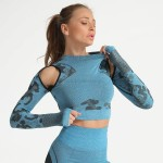 Camouflage Yoga Top Seamless Tight Long Sleeves Bodybuilding Women Yoga Suit