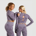 Camouflage Seamless Long Sleeves Top Bodybuilding Suits Hollow Out Tight Quick Drying Yoga Suit