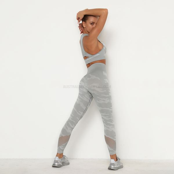 Women Tulle Quick Drying Camouflage Hip Lift Yoga Sport