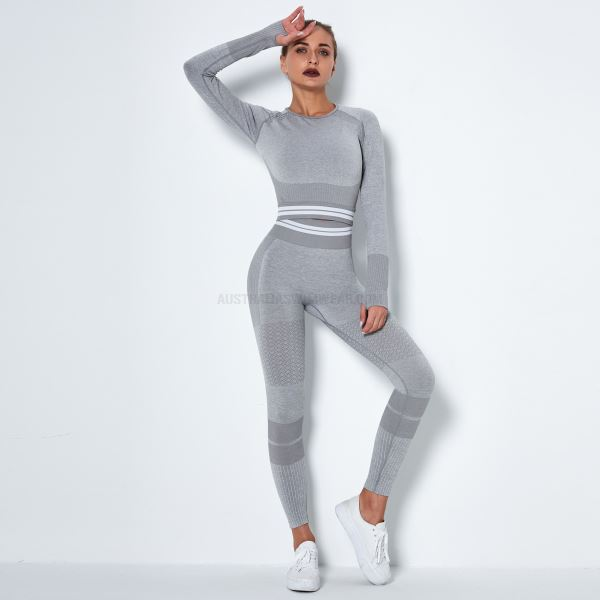 Seamless Knitted Quick Drying Sport Yoga Long Sleeves Stripe Bodybuilding Long Pants