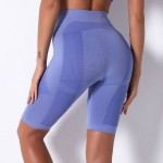 Seamless Knitted Breathable Stripe Shorts Yoga Pants Sport Running Bodybuilding Pants Women